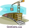 railway cars being loaded with cargo Vector Clipart illustration