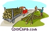 Vector Clipart graphic  of a lumber being loaded onto a transport
