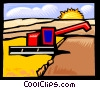 Grain harvesting Vector Clip Art picture