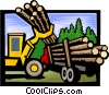 forestry loading logs onto a truck Vector Clipart illustration