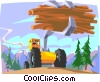 Vector Clip Art image  of a forestry lumber being loaded