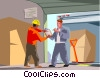 warehouse worker signs for a shipment Vector Clip Art picture