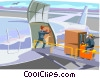 Vector Clip Art image  of a cargo being loaded onto an