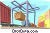 Vector Clip Art image  of a cargo being loaded