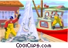 Fishing a day's catch is unloaded at the docks Vector Clip Art image