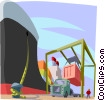 Vector Clipart picture  of a ships being loaded at the