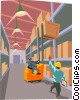 Vector Clipart graphic  of a foreman directing forklift operator