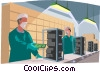 Assembly line workers in a clean room Vector Clipart illustration