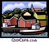 Vector Clip Art picture  of a Fishing village