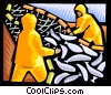 Vector Clipart graphic  of a Harvesting the fisheries