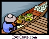 Vector Clip Art graphic  of a bringing fresh food to market
