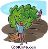 Vector Clip Art graphic  of a orchard workers