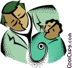 Vector Clip Art graphic  of a doctor with young patient