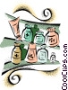 prescriptions sitting in medicine cabinet Vector Clipart image