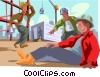 Vector Clipart picture  of a injured workman at industrial