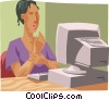 Vector Clipart graphic  of a woman with carpal tunnel