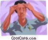 Vector Clipart illustration  of a man with a headache