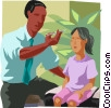 Doctor taking a young patient's temperature Vector Clip Art image
