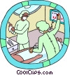patient with technicians Vector Clip Art graphic