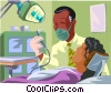 Healthcare, a dentist works with a patient Vector Clipart picture