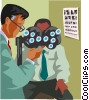 Vector Clip Art image  of a man receiving a vision test