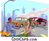 automobile accident with victims Vector Clip Art picture