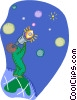 Figure looking at the stars Vector Clip Art picture