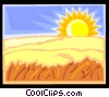 Vector Clip Art graphic  of a Sunset over a grain field