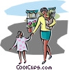 Shopping at the market Vector Clip Art graphic