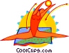 Vector Clipart image  of a Gymnast performing ball