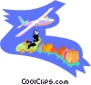 Vector Clip Art graphic  of a Man driving luggage to