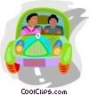 automobile with two occupants Vector Clip Art image