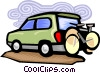Bicycle on back of truck Vector Clipart picture