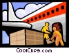 Vector Clipart graphic  of an airplane transporting cargo
