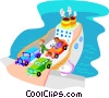 Vector Clip Art image  of a ferry boat with cars