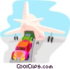 automobiles being loaded onto an airplane Vector Clipart picture