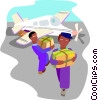 Vector Clip Art image  of a packages being unloaded from