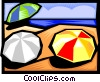 Vector Clipart illustration  of a Beach scene with umbrellas