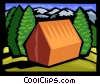 Vector Clip Art graphic  of a camp tent