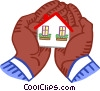 Vector Clip Art graphic  of a holding a house in the palm of