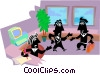 office workers greeting Vector Clipart illustration