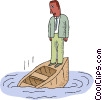 man on a sinking boat Vector Clipart picture