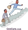 Vector Clipart graphic  of a office workers climbing stairs