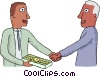 office retirement, handshake with a gold watch Vector Clipart illustration