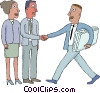 Vector Clip Art graphic  of a office workers shaking hands