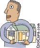 Man with his arms around a house, real estate Vector Clipart illustration