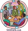 Vector Clip Art image  of a Boardroom meeting at