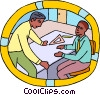 Vector Clip Art graphic  of a draftsmen discussing matters