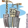 Vector Clip Art image  of a cranes building an office