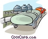 petroleum truck at refinery Vector Clip Art picture